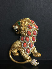 KJL Goldtone Huge Prideful LION Coral Art Glass & Rhinestone Pin Brooch