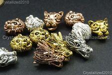 Solid Metal Dragon Lion Leopard Bracelet Necklace Connector Charm Beads Silver