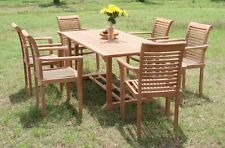 """Sam Grade-A Teak 7pc Dining 71"""" Mas Rectangle Table 6 Stacking Arm Chair Set New"""