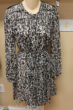 NEW Burberry Brit White Black Print Sheer Back Long Sleeve Dress US 8 UK 10 $795