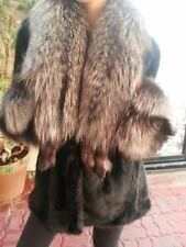 LAST SEASON! GLAMOROUS Black Mink Fur Coat Jacket Huge Real Silver Fox Collar