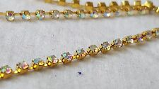 2.5mm- 1 meter Gorgeous gold AB iridescent diamante stones string chain DIY