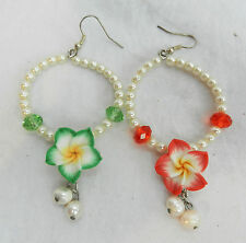 Hand Made Flower Earrings with Pearls  - Hooks for Pierced Ears - BNIB