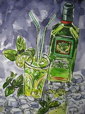 Watercolor Painting Mohito Drink Absinthe Green Ice Alcohol 5x7 inches