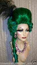 Drag Queen Wig Big Tall Dark Green Lighter Tips Casonova with Curls and Tail