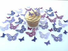 48 Edible Shades of Purple Butterflies Pre Cut Wafer Cupcake Toppers