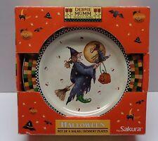 4 DEBBIE MUMM SAKURA Halloween SALAD PLATES UNUSED IN BOX