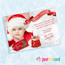10 Baby Christmas White Thank You Photo cards 1st Xmas