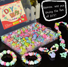 450pcs Assorted Colors & Shapes Jewelry Beads Set & Hairband DIY For Kids Crafts