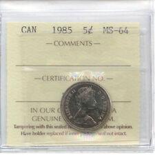 1985 Canada 5 Cent ICCS MS-64