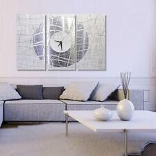 Extra Large Silver & White Wall Clock, Contemporary Metal Wall Art by Jon Allen