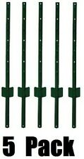 (5) Midwest Air 901150A  6'  Green Light Duty U Style 14 Gauge Steel Fence Posts