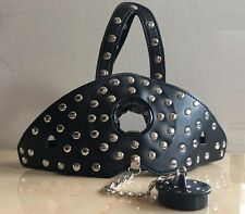 Black Faux Leather Studs Head Hood & Plug Ball Gag Dungeon Bondage Fetish Kit