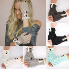 Women Fingerless Lace Knitted Gloves Winter Warm Button Hand Wrist Warmer Mitten