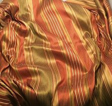 "Silk SATIN Cord Fabric GOLD OLIVE & RED STRIPE 54"" by the yard"