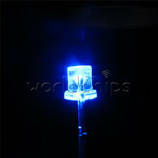 100PCS 5MM 2Pin Flat Top Blue LED 360° Wide Angle Flat Head Light Lamp