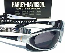 NEW* Harley Davidson Silver w Grey Baffle Lens & Cycle Sunglass Safety HD1301