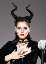 Womens Maleficent Style Long Black Demon Horns