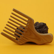 Wood Afro Comb Pick Upright Wide Tooth Curly Hair Pick No Static Wooden Comb