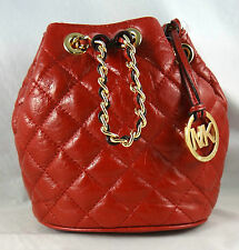 MICHAEL MICHAEL KORS FRANKIE QUILTED METALLIC RED LEATHER DRAWSTRING CROSSBODY