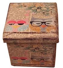 Vieux souhait Hibou siège unique en cuir synthétique pu imprimé pliage boîte storeage ottoman