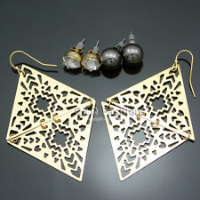 Set 3pair Ethnic Aztec Gold Triangle Filigree Czech Crystal Ball Gypsy Earrings
