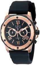 NEW RRP £279 Bulova 98B104 Mens Marine Star Chronograph Black Gold Watch