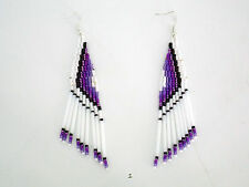 NATIVE AMERICAN SEED BUGLE BEAD EARRINGS HAND MADE WHITE PLUM VIOLET BLACK