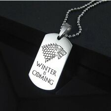 Game of Thrones Stainless Steel House Stark Direwolf Medallion Wolf Necklace