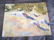 """Original Watercolor by Peg Humphreys Boulder on Hill in Summer 13 3/4"""" x 11"""""""