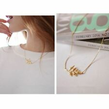 Celebrity Elegant little Leaf Pendant Charm Clavicle Chain Necklace-100048GD
