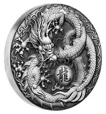 Tuvalu 2017 Dragon Flaming Pearl Wisdom $2 2 Oz Silver Antiqued Antique High Rel