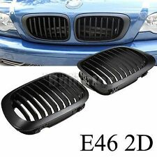 Pair Black Front Kidney Sport Grille for BMW E46 3 Series 2 Door Coupe 98-02 Car
