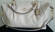 COACH Collette Leather Satchel Purse F58410 Chalk White w/Dust Bag