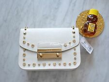 Furla Petalo White Saffiano Julia Mini Studded Leather Crossbody Clutch Bag *NEW