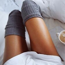 Ladies Winter Soft Cable Knit Over knee Long Boot Thigh-High Socks Leggings Grey