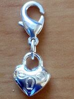 Puff heart charm silver plated with detailing 30mm. For phone or bracelet.