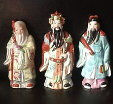 Vintage Chinese Oriental Porcelain Ceramic Figurine Wise Man Men Set 3 Marked 6""