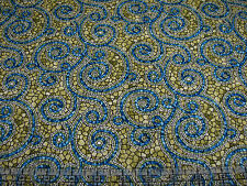 1 Yard Quilt Cotton Fabric- Benartex Byzantium Mosaic Tile Swirl Blue on Olive