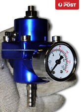 UNIVERSAL FUEL PRESSURE REGULATOR BLACK & GAUGE RISING RATE FORD XR6 TURBO BLUE