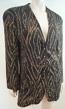 JAEGER Black Brown & Gold Glitter Detail Collarless Evening Blazer Jacket UK10