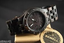 Men's Casual Wooden Watch Black Sandal Wood Roman Numerals Round Face Bewell NEW