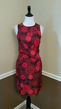Modcloth $180 Nice Things Paloma S. Burgundy Red Floral Silk Sheath Dress 4/6