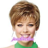 Fashion sexy Women's ladies short Brown blonde mixed Natural Hair wigs + Wig Cap