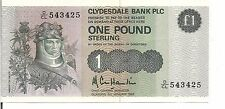 SCOTLAND, 1 POUND,CLYDESDALE BANK, P#211b, 1983, UNC