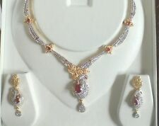 American Diamond Necklace Set Latest Design Fashion Jewellery Maroon