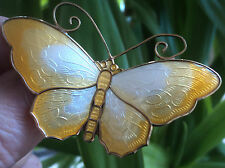 LARGE Norwegian Silver & Yellow Enamel Butterfly Brooch  - David Andersen Norway