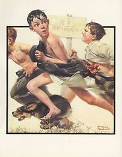 """1977 VINTAGE """"NO SWIMMING"""" BOYS NORMAN ROCKWELL MINI POSTER COLOR Art Lithograph"""