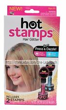 HOT STAMPS* 2pc Set HAIR GLITTER Just Press & Dazzle PINK & BLUE As Seen On TV