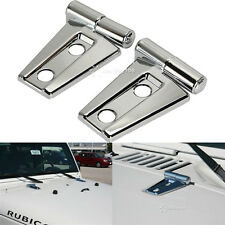 2PCS Automotive New Chrome Trim JK Hood Hinge Covers for 2007-2015 Jeep Wrangler